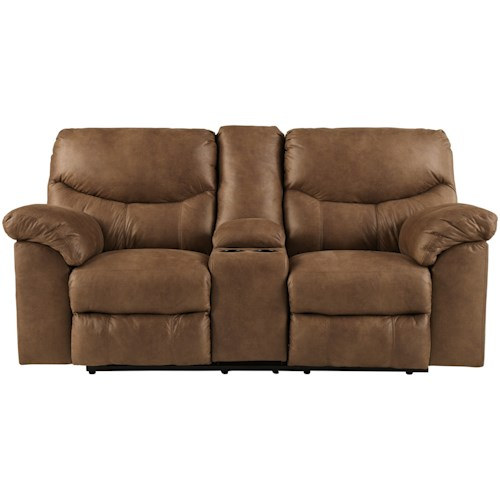 Signature Design by Ashley Boxberg Casual Double Reclining Loveseat with Center Console