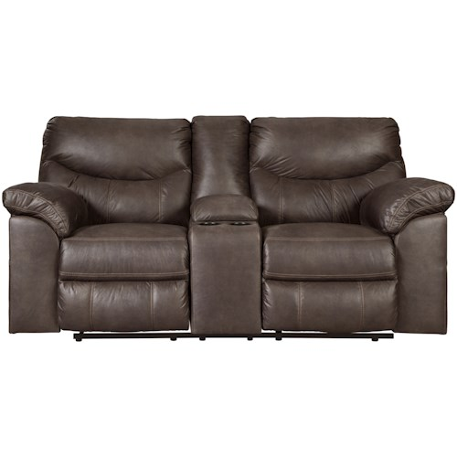Signature Design by Ashley Boxberg Casual Double Reclining Power Loveseat with Center Console