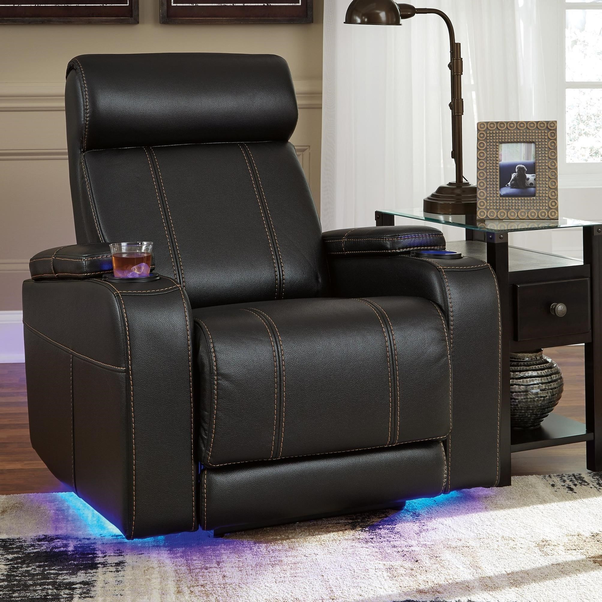 Signature Design By Ashley Boyband Faux Leather Power Recliner With Cup  Holders, Storage, Cup