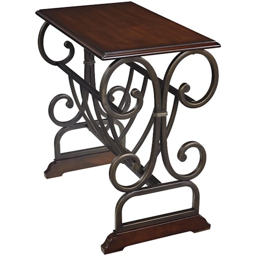 Signature Design by Ashley Braunsen Traditional Chair Side End Table with Scrolled Metal