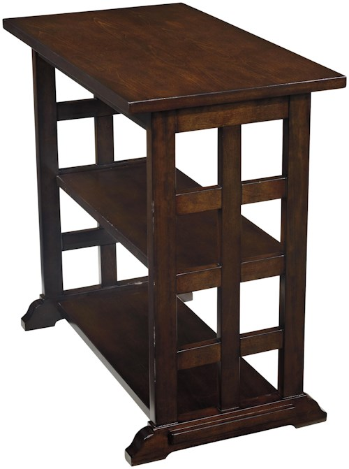 Signature Design by Ashley Braunsen Chair Side End Table with Lattice Design & 2 Shelves
