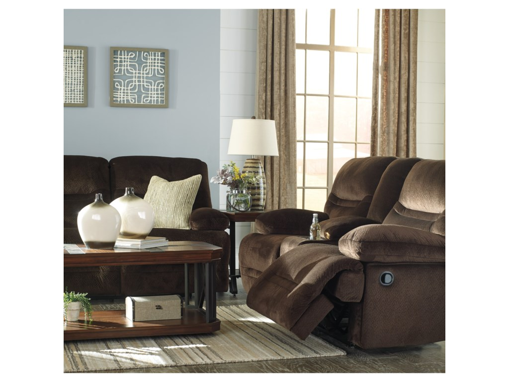 Signature Design by Ashley BrayburnDouble Reclining Loveseat w/ Console