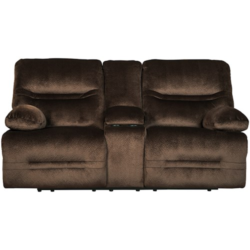 Signature Design by Ashley Brayburn Contemporary Double Reclining Power Loveseat w/ Console