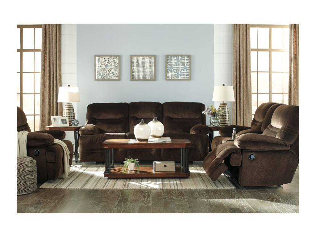 Signature Design by Ashley BrayburnDouble Reclining Power Loveseat w/ Console