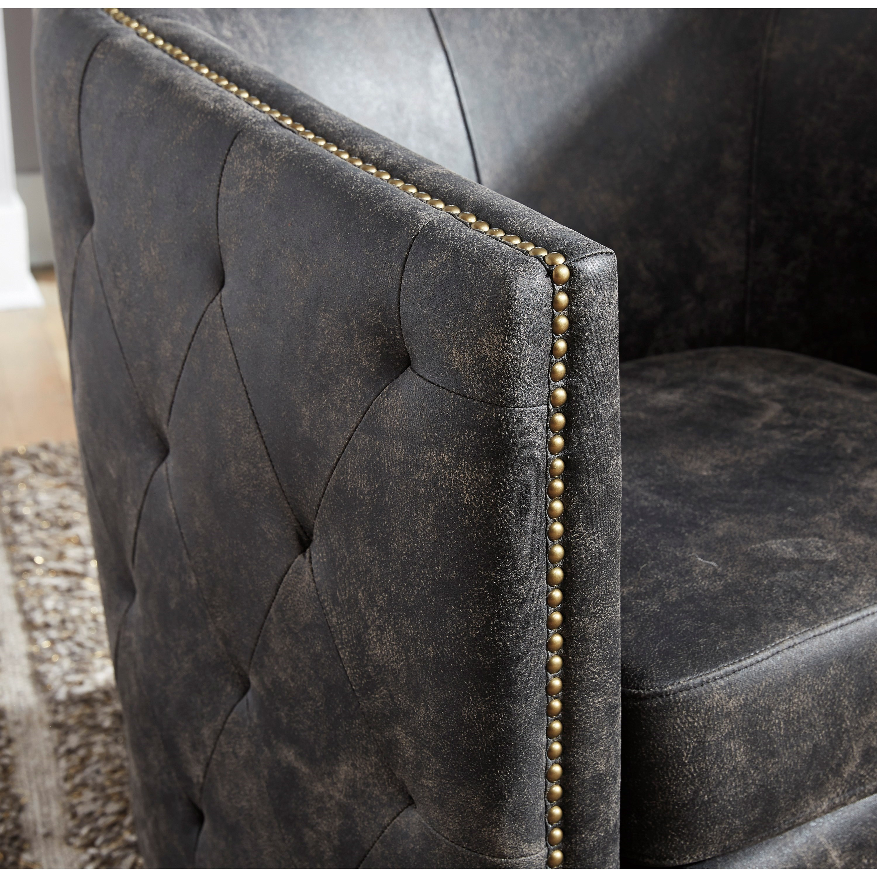 Signature Design By Ashley Brentlow Distressed Black Faux Leather Barrel Back Swivel Chair Royal Furniture Upholstered Chairs