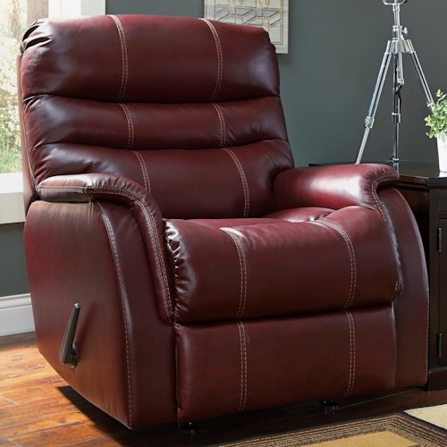 Signature Design by Ashley Bridger Contemporary Leather Match Rocker Recliner