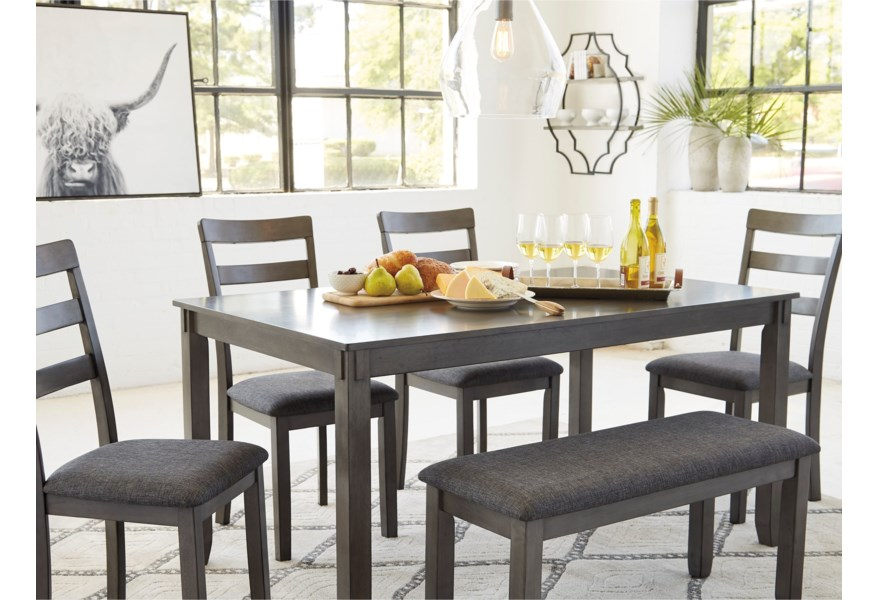 Ashley Signature Design Bridson 6 Piece Rectangular Dining Room Table Set Johnny Janosik Table Chair Set With Bench