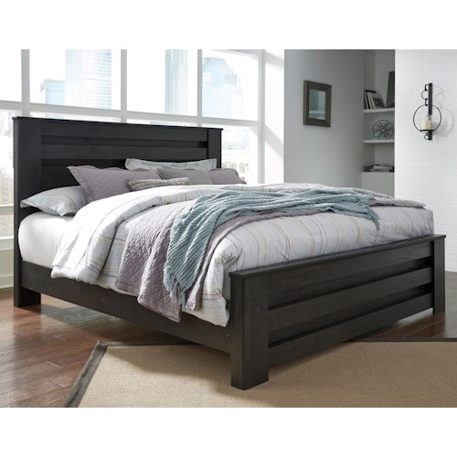 Signature Design by Ashley Brinxton King Poster Bed in Charcoal Finish