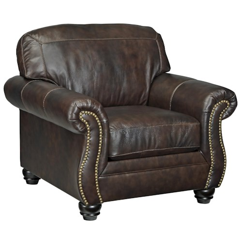 Signature Design by Ashley Brisbane Traditional Leather Match Chair with Rolled Arms & Nailhead Trim