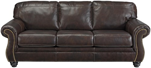 Signature Design by Ashley Bristan Traditional Leather Match Sofa with Rolled Arms & Nailhead Trim