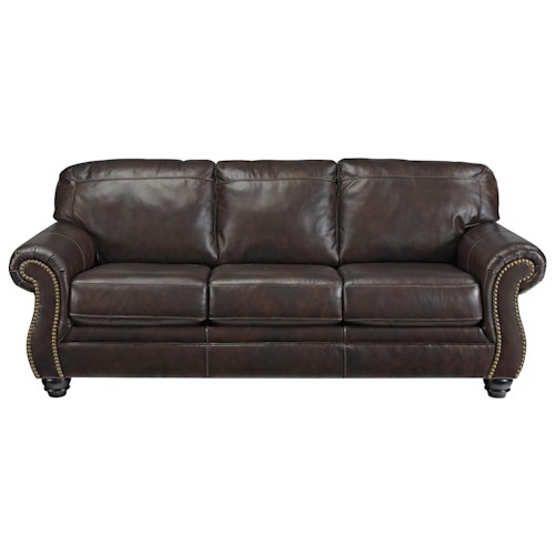 Signature Design by Ashley Bristan Traditional Leather Match Queen Sofa Sleeper with Rolled Arms & Nailhead Trim