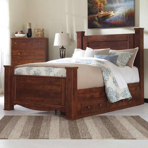 Signature Design by Ashley Brittberg Queen Poster Bed with Underbed Storage