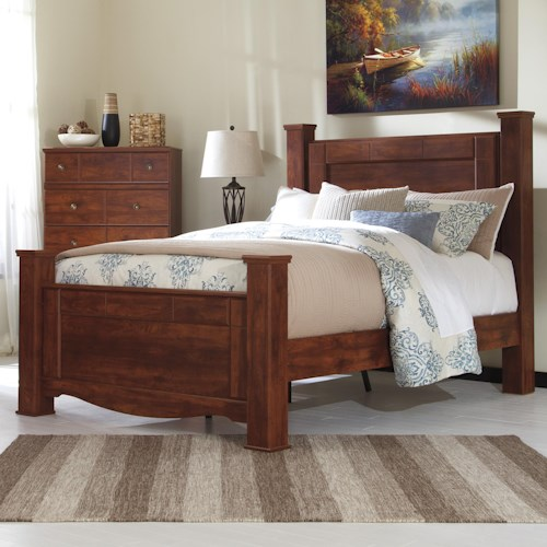 Signature Design by Ashley Brittberg Queen Poster Bed in Cherry Finish