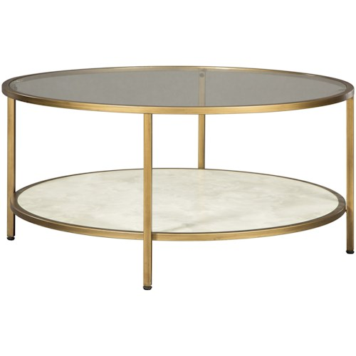 Signature Design by Ashley Britzwald Glam Round Cocktail Table with Glass Top