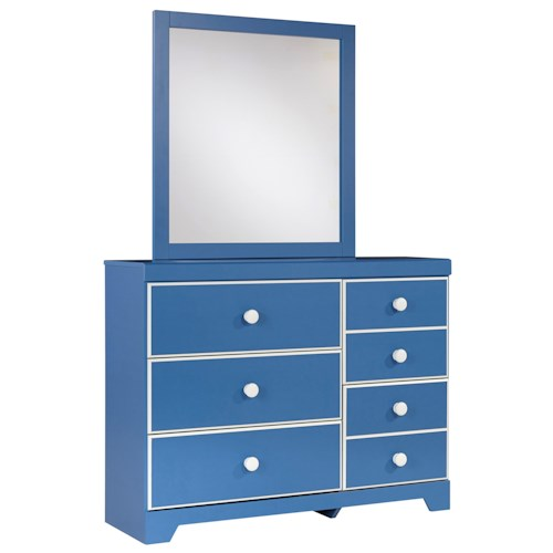 Signature Design by Ashley Bronilly Contemporary 5-Drawer Dresser & Bedroom Mirror
