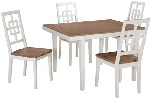 Signature Design by Ashley Modean Contemporary White/Light Wash 5-Piece Rectangular Dining Table Set