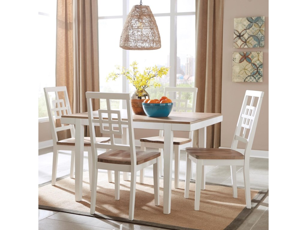 Brovada Contemporary White Light Wash 5 Piece Rectangular Dining Table Set By Signature Design Ashley At Wayside Furniture