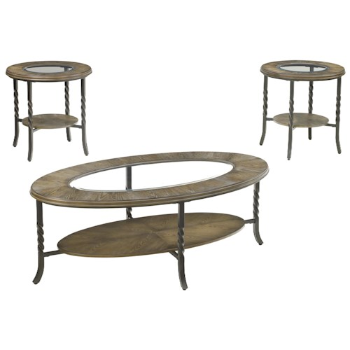 Signature Design by Ashley Brudelli 3-Piece Transitional Occasional Table Set with Twist Metal Legs