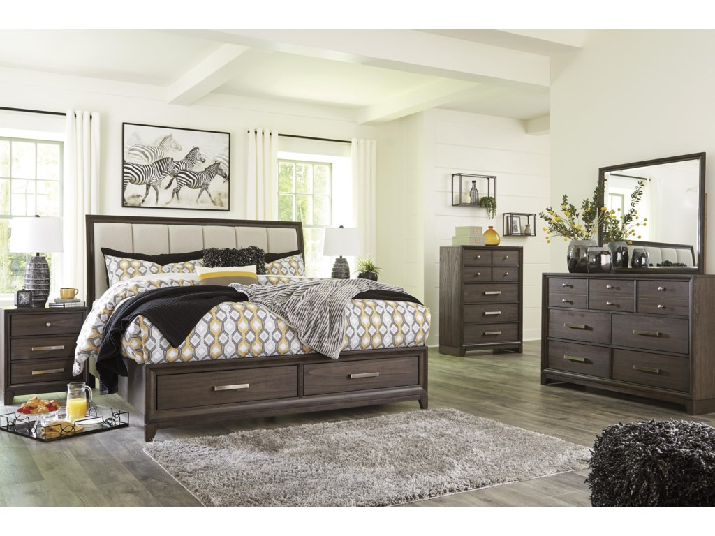 Signature Design by Ashley BruebanQueen Panel Bed with Storage Package