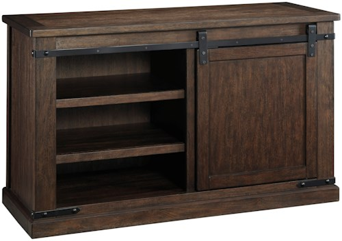 Signature Design by Ashley Budmore Mango Veneer Medium TV Stand with Barn Door
