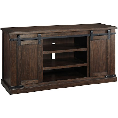Signature Design by Ashley Budmore Mango Veneer Large TV Stand with Barn Doors