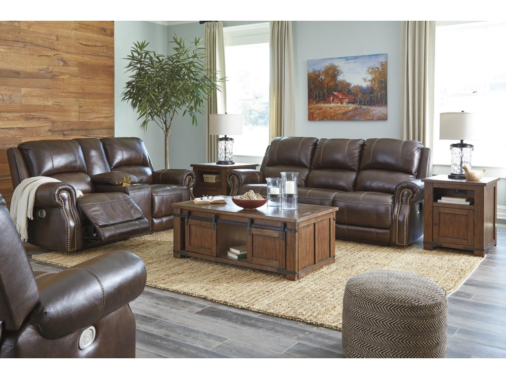 Signature Design by Ashley BuncranaPower Recliner Loveseat w/ Storage and Power