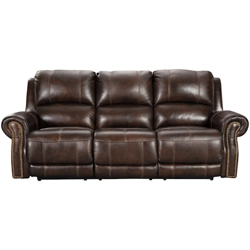 Signature Design by Ashley Buncrana Traditional Power Reclining Sofa with USB Port and Nailhead Trim