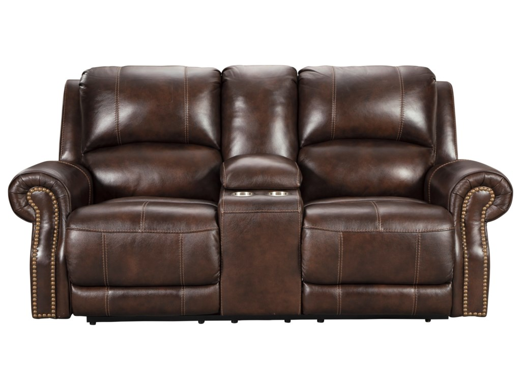 Signature Design by Ashley BuncranaPower Reclining Console Loveseat