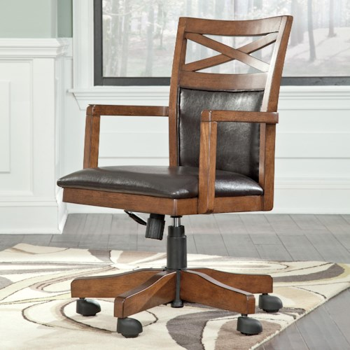 Signature Design by Ashley Burkesville Home Office Desk Chair with X-Back Detail