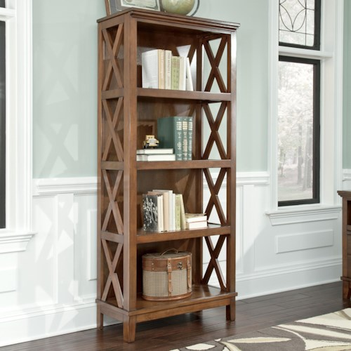 Signature Design by Ashley Burkesville Large Bookcase with X Side Panels and Birch Veneer