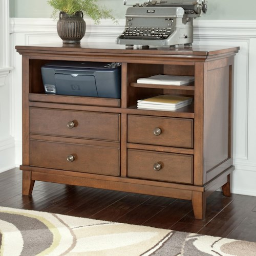 Signature Design by Ashley Burkesville Home Office Cabinet with Pull-Out Tray and Birch Veneer