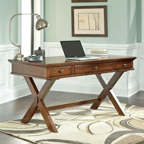 Signature Design by Ashley Burkesville Home Office Desk with Drop Front Keyboard Tray