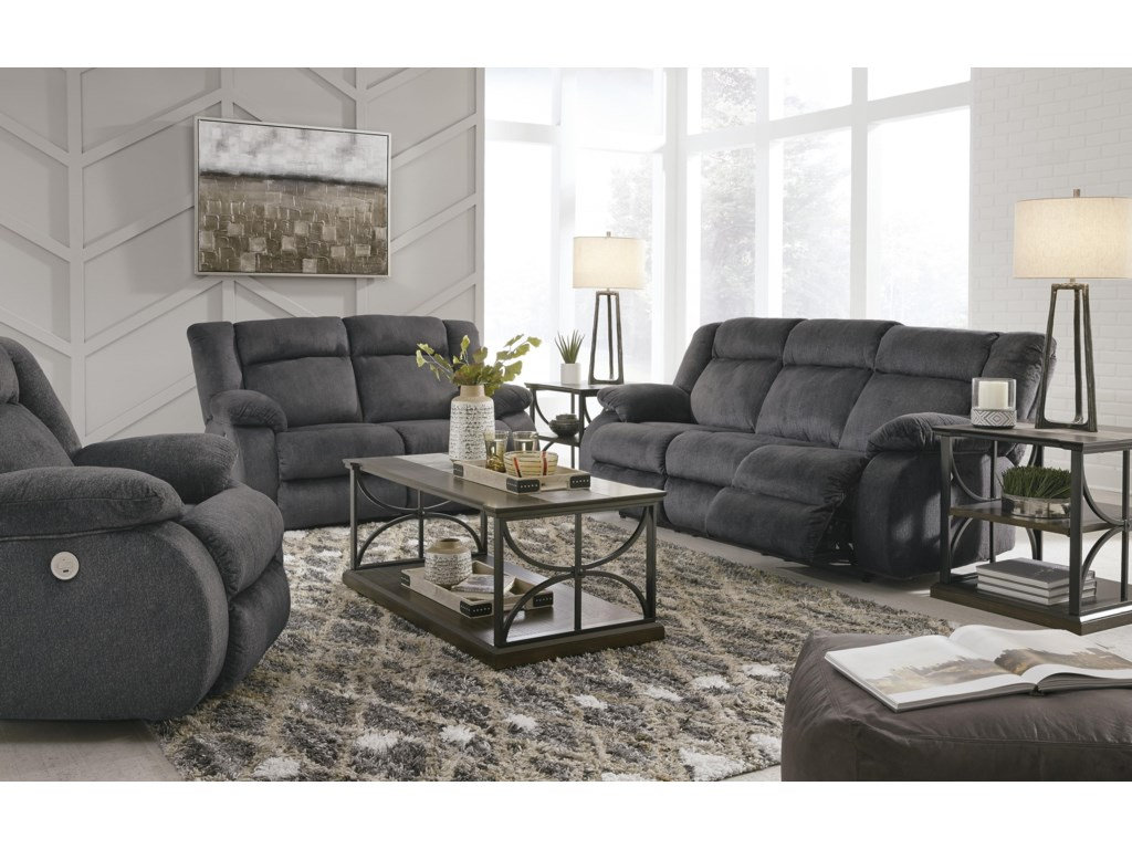 Signature Design by Ashley BurknerPower Reclining Sofa, Loveseat, and Rocker R