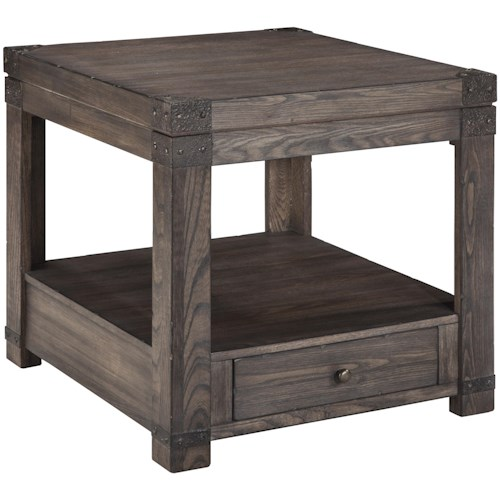 Signature Design By Ashley Burladen Elm Veneer Rectangular End Table In Grayish Brown Finish