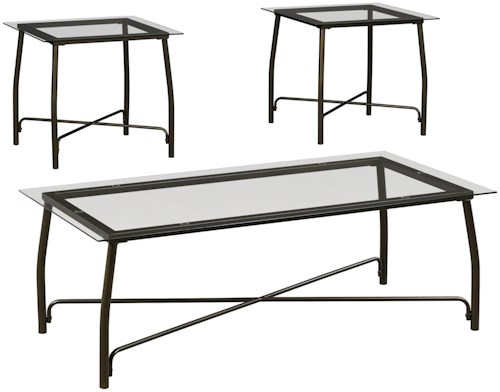 Signature Design by Ashley Burmesque 3-Piece Occasional Table Set with Glass Tops