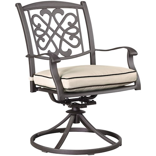 Signature Design by Ashley Burnella Set of 2 Outdoor Swivel Chairs w/ Cushion