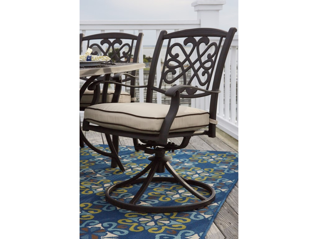 Signature Design by Ashley BurnellaSet of 2 Outdoor Swivel Chairs w/ Cushion