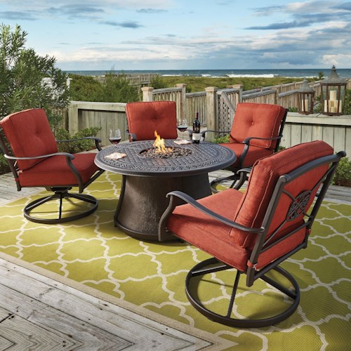 Signature Design by Ashley Burnella 5-Piece Outdoor Fire Pit Set - Signature Design By Ashley Burnella 5-Piece Outdoor Fire Pit Set
