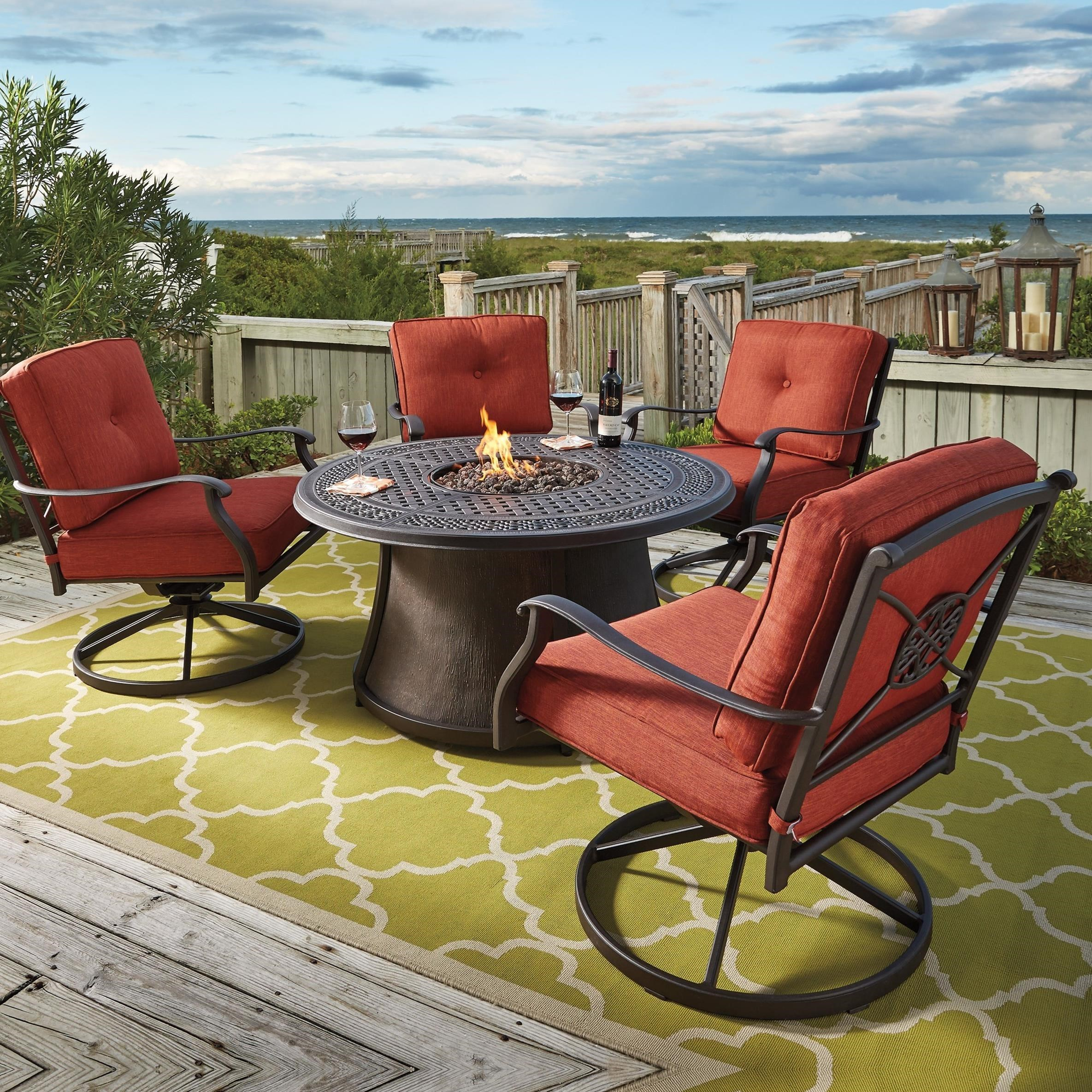 Signature Design By Ashley Burnella 5 Piece Outdoor Fire Pit Set   John V  Schultz Furniture   Outdoor Conversation Sets/Outdoor Chat Sets