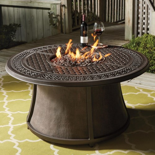 round fire pit table Signature Design by Ashley Burnella Outdoor Round Fire Pit Table  round fire pit table
