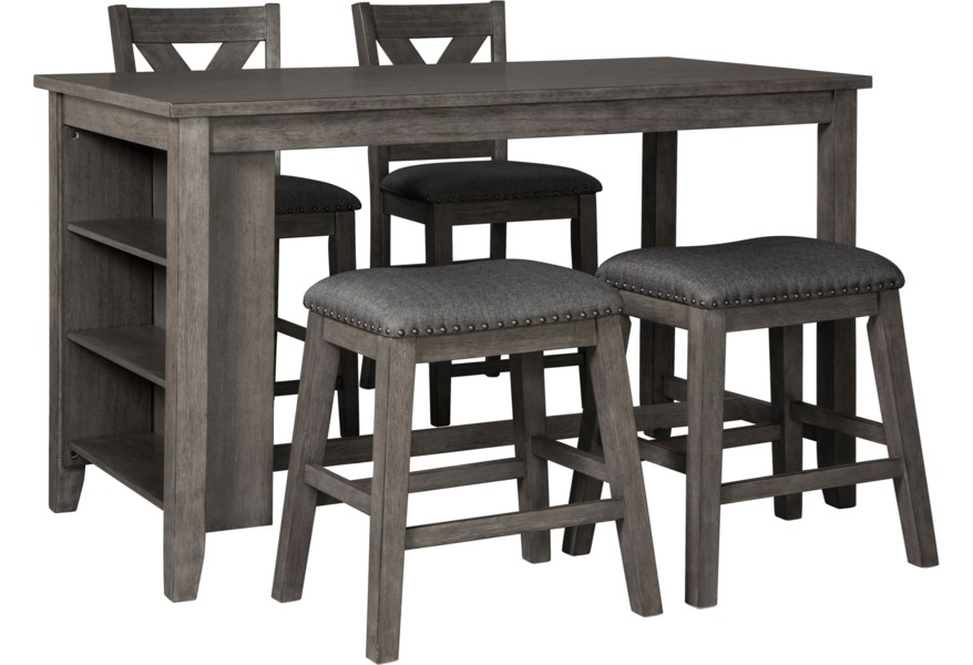 Caitbrook Five Piece Kitchen Island & Chair Set with Adjustable Storage by  Ashley Signature Design at Dunk & Bright Furniture
