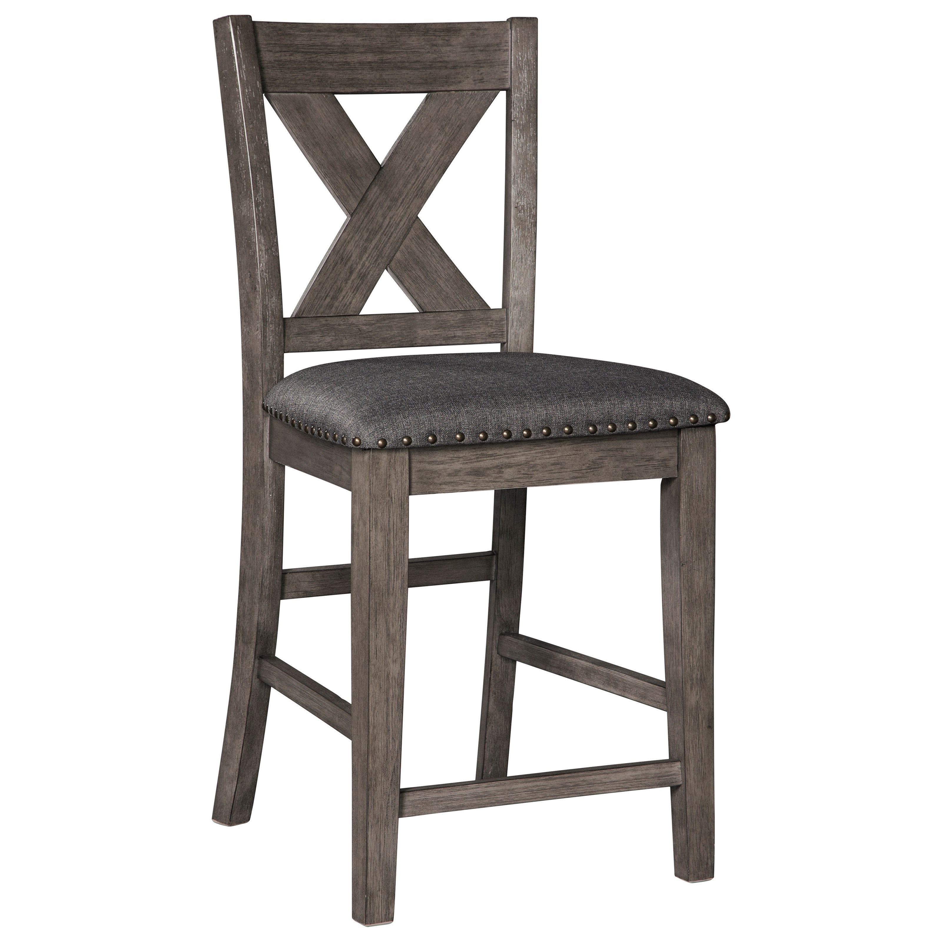 Relaxed Vintage Solid Wood Barstool with Nailhead Trim