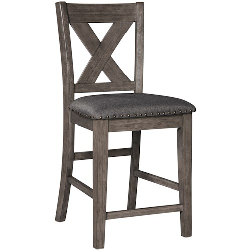 Signature Design by Ashley Caitbrook Relaxed Vintage Solid Wood Barstool with Nailhead Trim