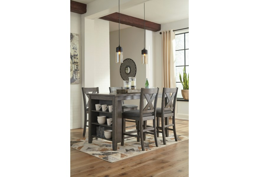 Caitbrook Relaxed Vintage Five Piece Kitchen Island & Chair Set by  Signature Design by Ashley at Houston\'s Yuma Furniture