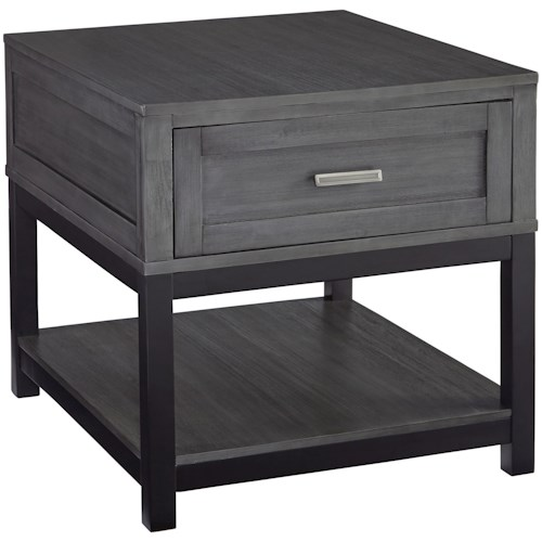 Signature Design by Ashley Caitbrook Rectangular End Table in Gray/Black Finish
