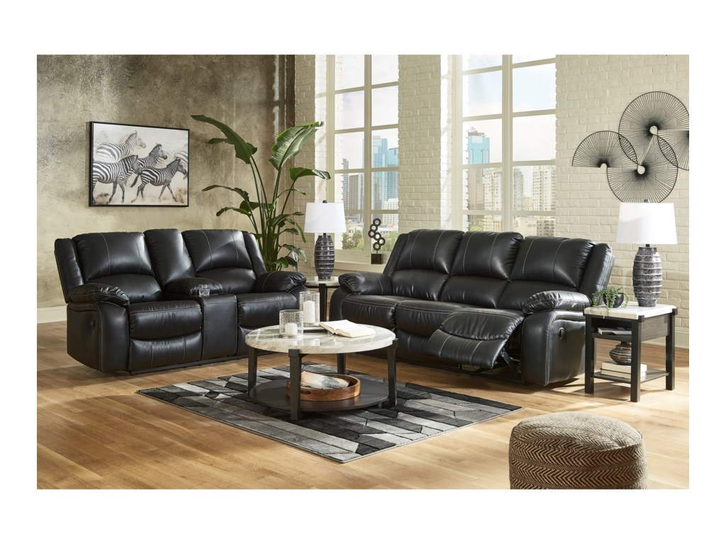 Signature Design by Ashley CalderwellDouble Rec Loveseat w/ Console