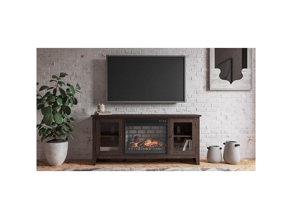 Signature Design by Ashley CamiburgLarge TV Stand w/ Fireplace Insert