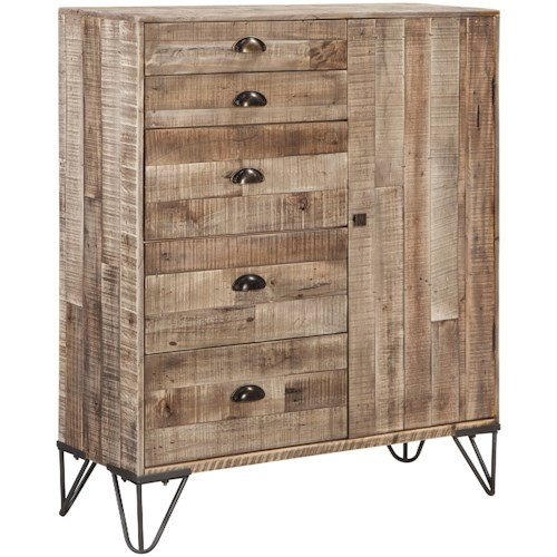 Signature Design by Ashley Camp Ridge Industrial 5-Drawer Accent Cabinet