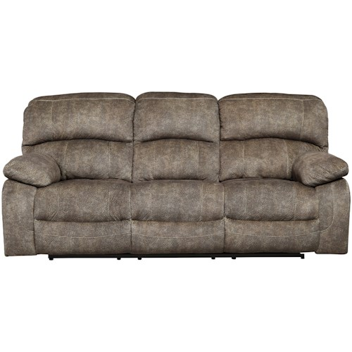 Signature Design by Ashley Cannelton Casual Power Reclining Sofa with Adjustable Headrest