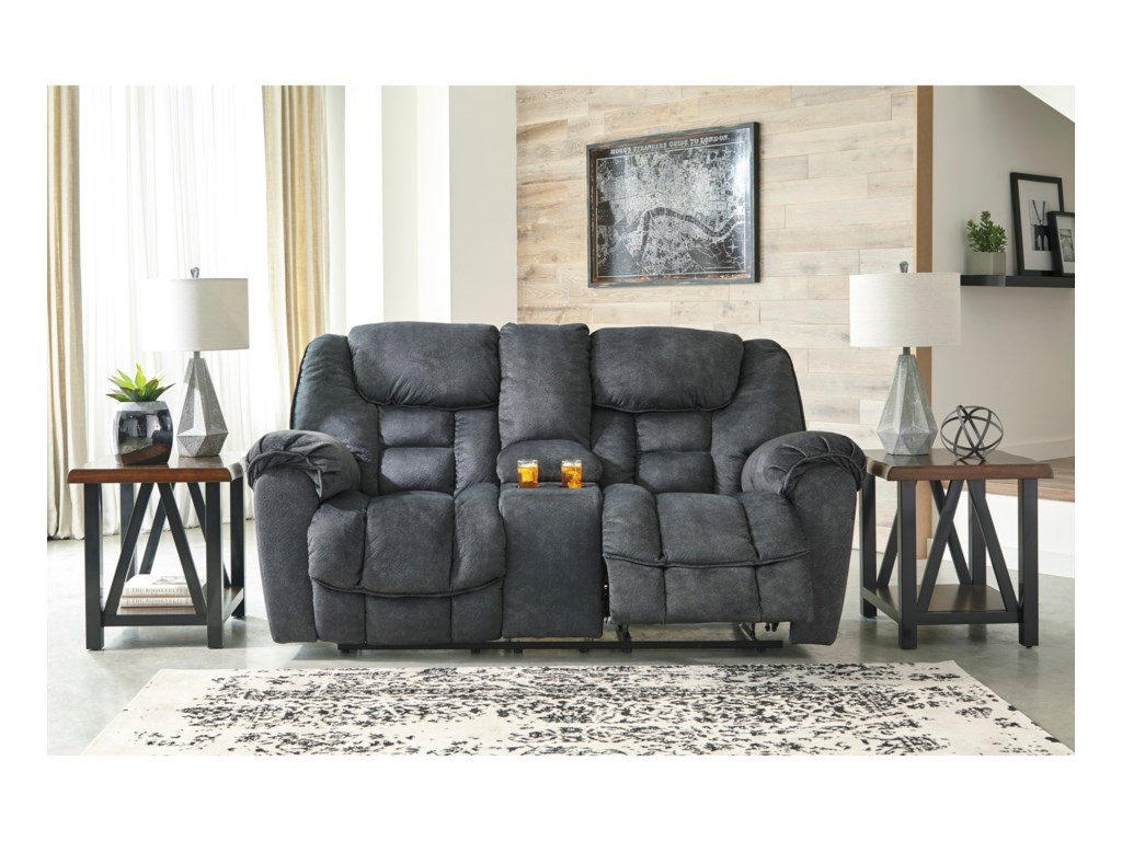 Ashley (Signature Design) CapehornDouble Reclining Loveseat w/ Console